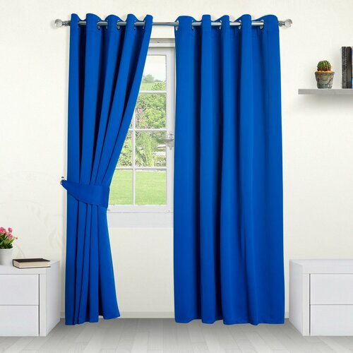 Eyelet Blackout Thermal Curtain Symple Stuff Colour: Blue,