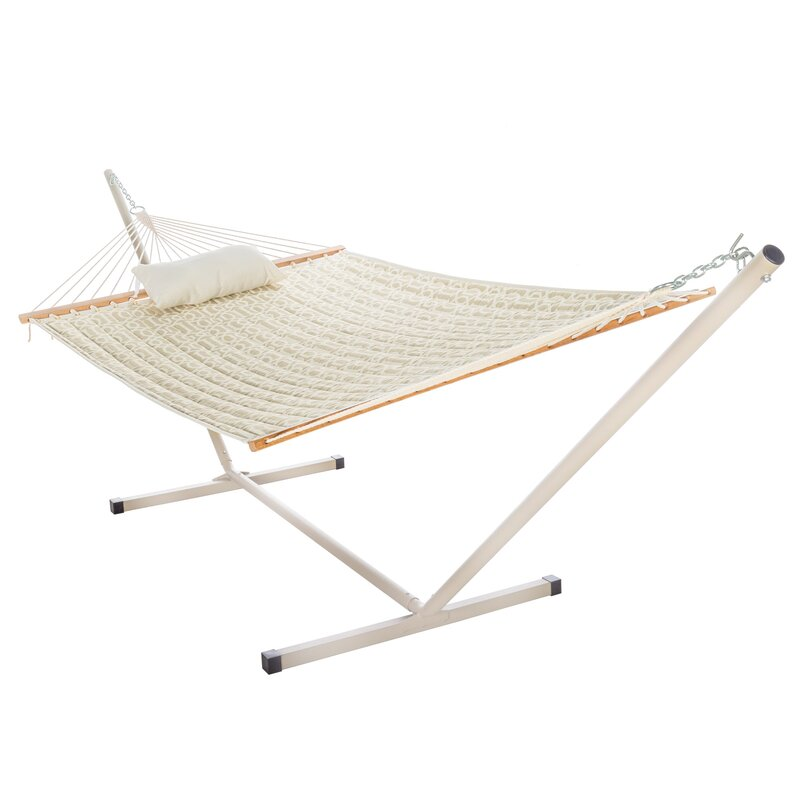 Sol 72 Outdoor  Amaryllis Quilted Tree Hammock with Stand Color: Gray