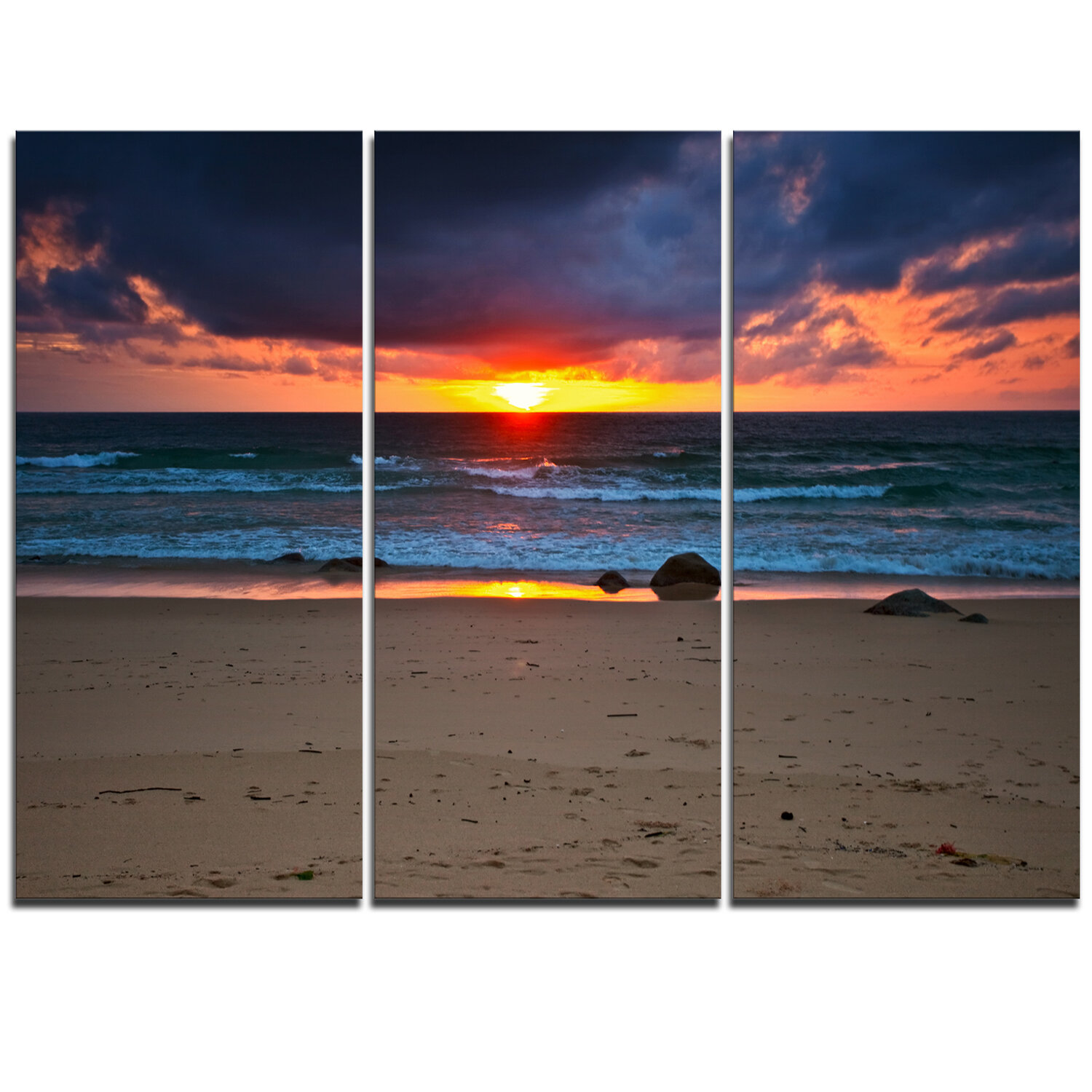 Designart Dramatic Colorful Sky Over Beach 3 Piece Graphic Art On Wrapped Canvas Set Wayfair