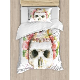03361d3b83c73 Skull Decorations Traditional Mexican Sugar with Sacred Eye Sign and  Geometric Triangle Figures Duvet Cover Set