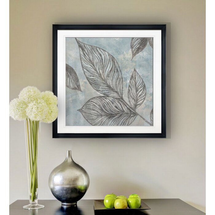 'Soft Silhouette Leaves' Acrylic Painting Print on Wrapped Canvas