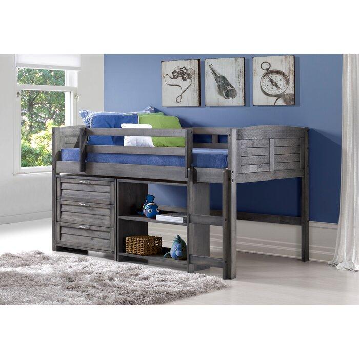 Harriet Bee Evan Twin Low Loft Bed With Storage Reviews Wayfair Ca