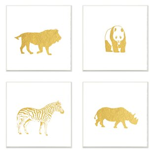4 Piece Golden Animal Silhouettes Lion Panda Zebra Rhino Wall Plaque Set