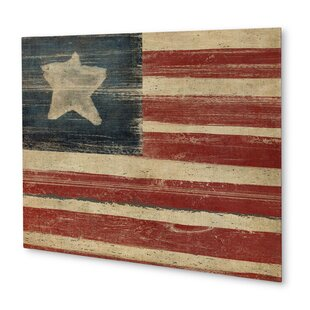 Rustic American Flag Graphic Art On Plaque