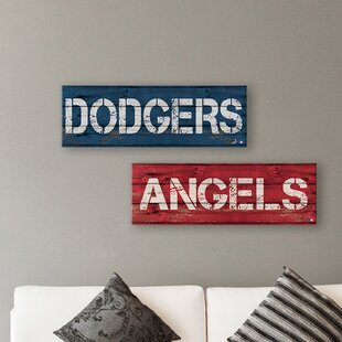 'MLB Los Angeles Angels and Dodgers' 2 Piece Textual Art Set on Canvas in Red/Blue By Gallery Direct