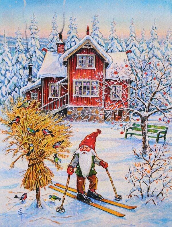 Caroline's Treasures Christmas Gnome Skiing 2-Sided Garden ...