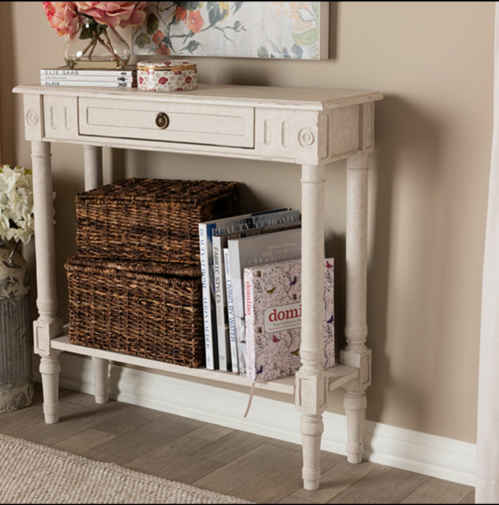 Rosecliff Heights Epple Contemporary Creative Stylish Office Home Wooden Utility Hallway Entryway Console Table Sofa Table Natural White Finish Wayfair Ca