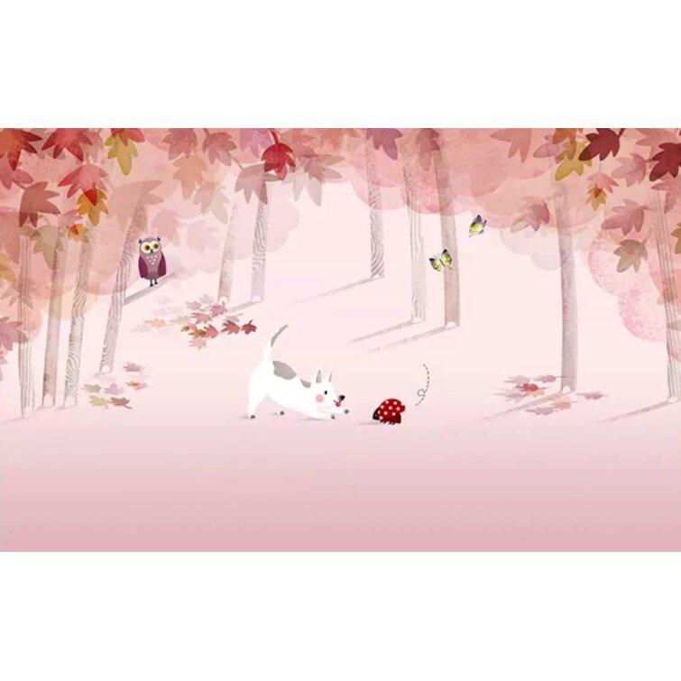 Gk Wall Design Pink Forest Cartoon Dog And Owl Removable Textured Wallpaper Wayfair