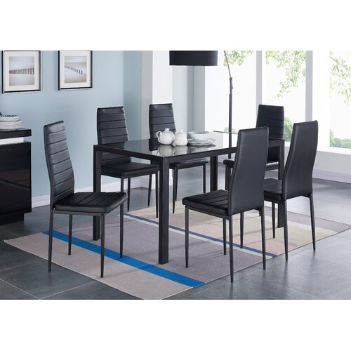 Umber Glass Dining Table Set with 6 Chairs Metro Lane