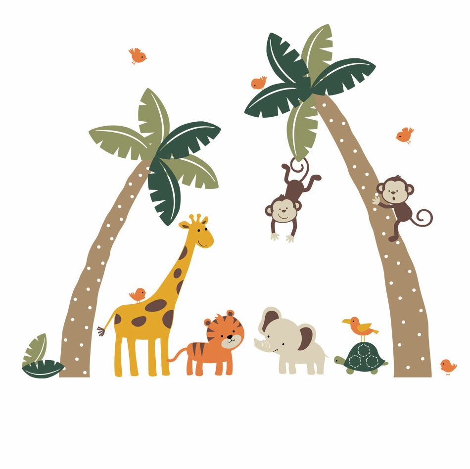 Harriet Bee Errico Palm Trees With Cute Jungle Animals Wall Decal