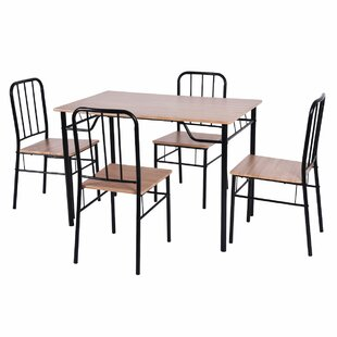 Carelton 5 Piece Solid Wood Dining Set by Winston Porter