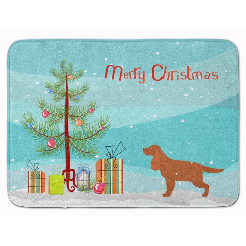The Holiday Aisle English Cocker Spaniel Christmas Tree Memory Foam Bath Rug Wayfair