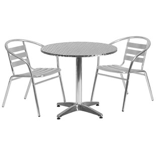 Ebern Designs Casper Round Indoor Outdoor 3 Piece Bar Height Dining Set