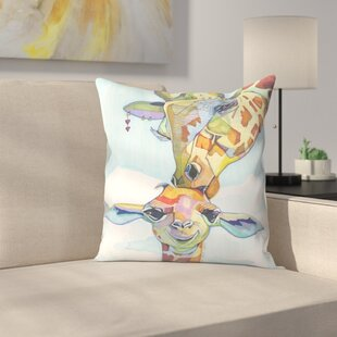 Giraffe Tina and Tiny Throw Pillow