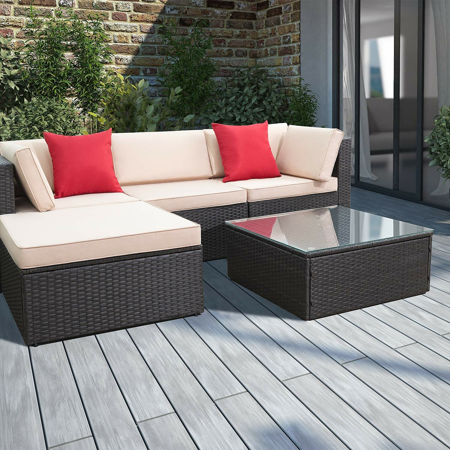 5 Piece Rattan Sectional Seating Group