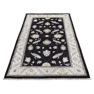 Bargain One-of-a-Kind Bagby Hand-Knotted 3'2 x 4'10 Wool Black/Beige Area Rug By Isabelline