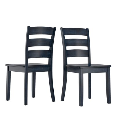 Alverson Solid Wood Dining Chair Color: Dark Denim by August Grove