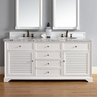 Osmond 72 Double Rectangular Sink Cottage White Bathroom Vanity Set by Greyleigh