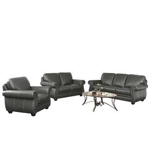 Darby Home Co Fairdale 3 Piece Leather Living Room Set