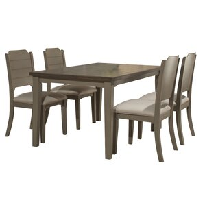 Kinsey 5 Piece Gray Wire Brush Dining Set by Rosecliff Heights