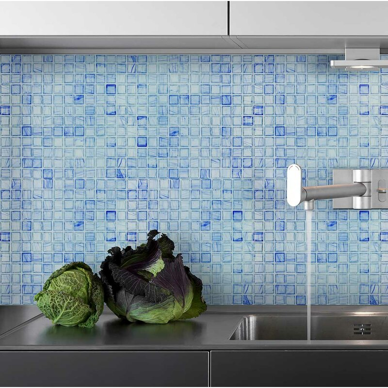 Mosaictileoutlet Squares 1 X 1 Glass Mosaic Tile In Glossy Blue Gray Wayfair