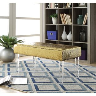 Mercer41 Feuer Sequin Upholstered Bench with Acrylic Leg