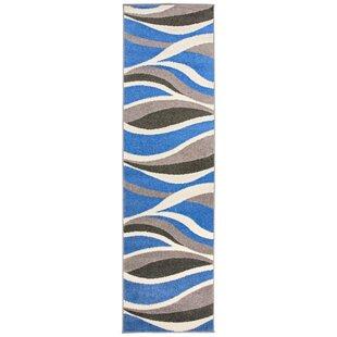 Low priced Royal Contemporary Wavy Blue/Black/Gray Area Rug ByOrren Ellis