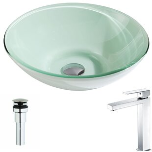 Look for Sonata Glass Circular Vessel Bathroom Sink with Faucet By ANZZI