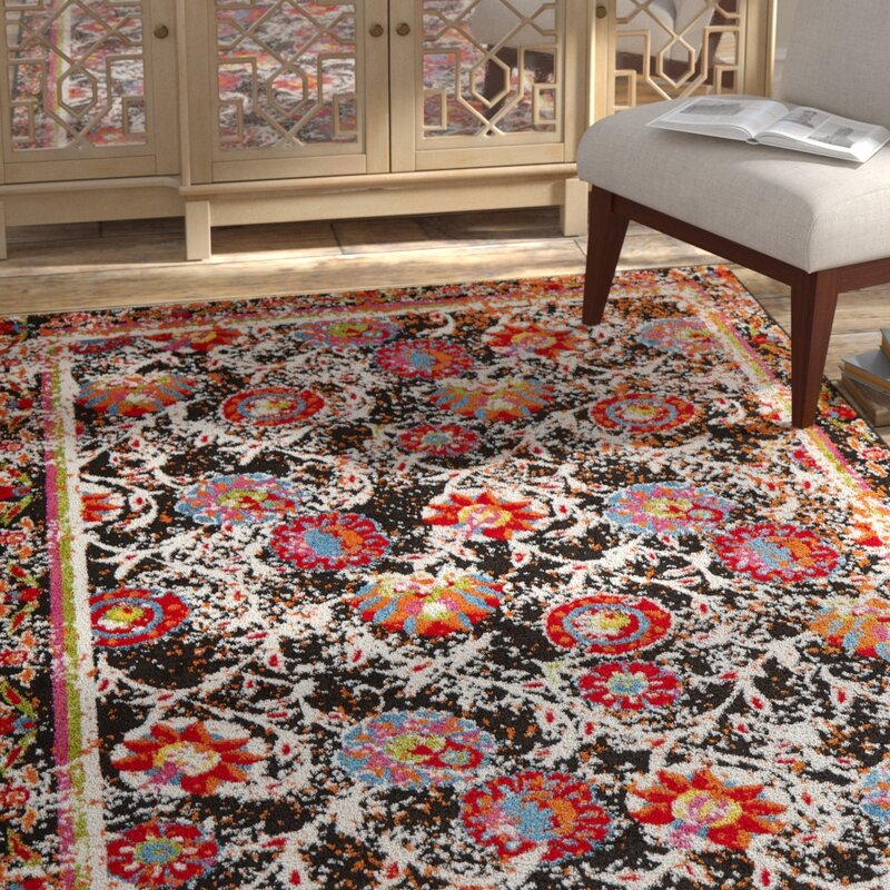 Bloomsbury Market Amot Luminous Floral Black Red Orange Area Rug