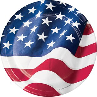 Patriotic Flag Paper Disposable Dessert Plate (Set of 24)