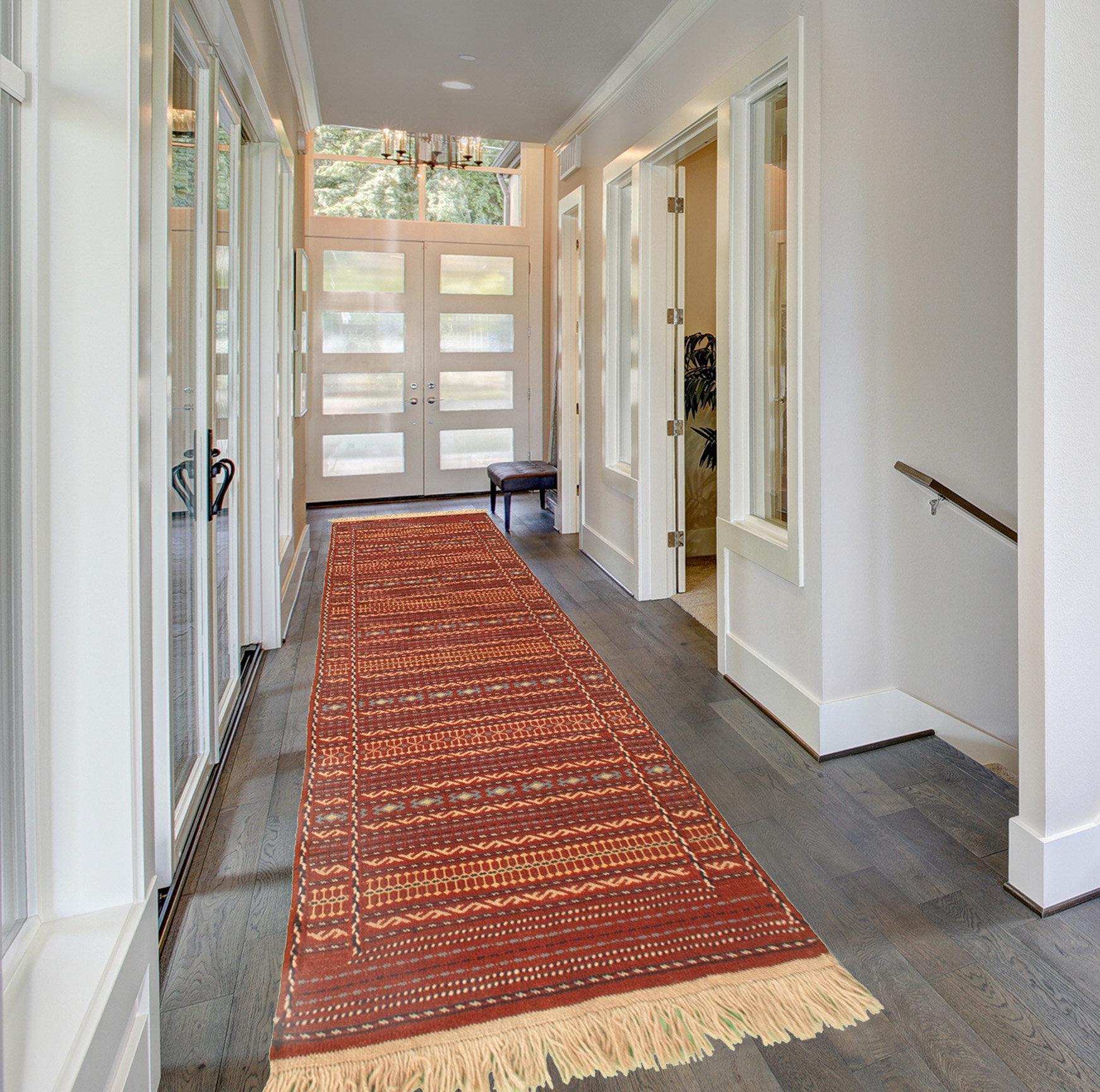 Foundry Select Frampton Handmade Kilim Wool Red Rug Wayfair