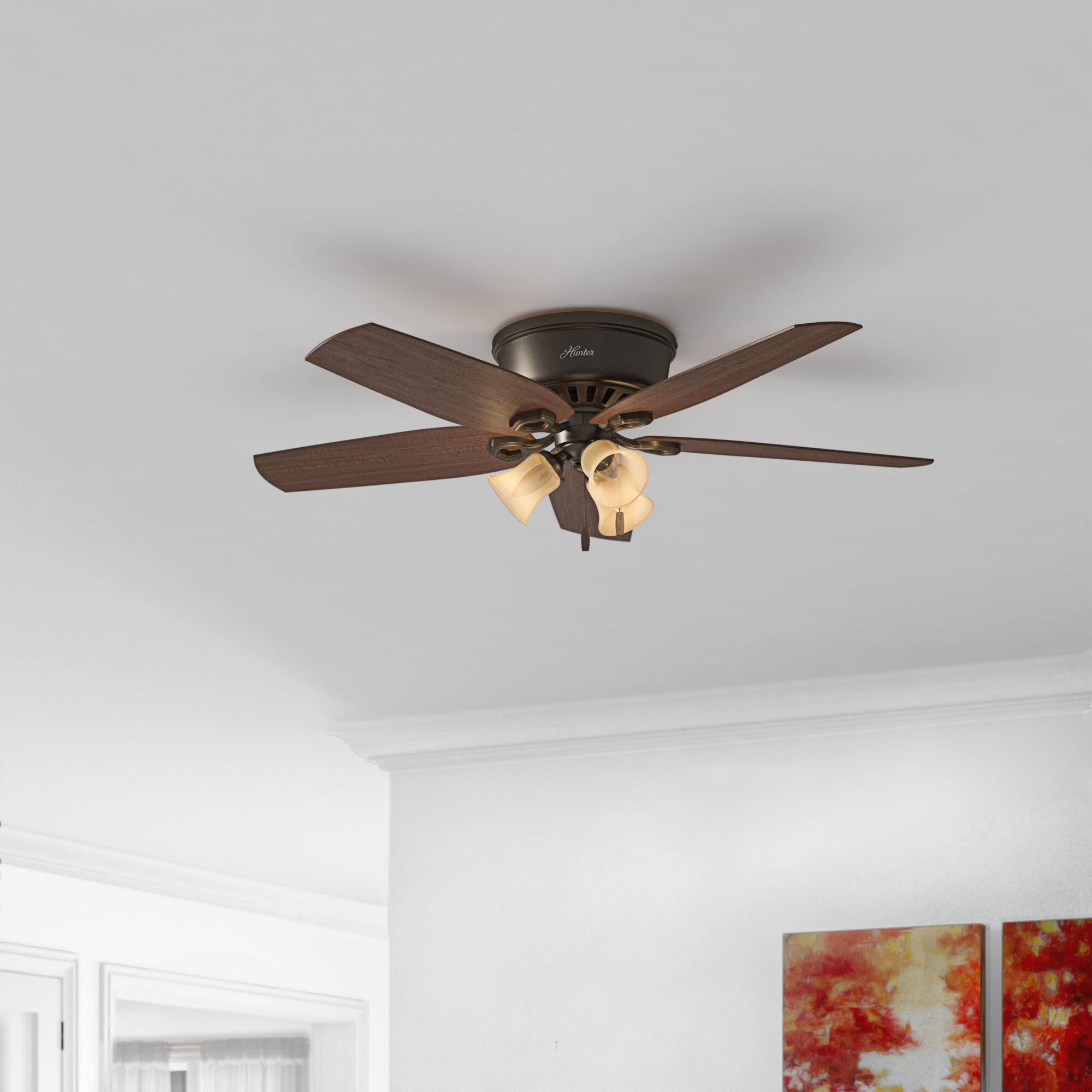 Hunter Fan 42 Builder Low Profile 5 Blade Flush Mount Ceiling Fan With Pull Chain And Light Kit Included Reviews Wayfair