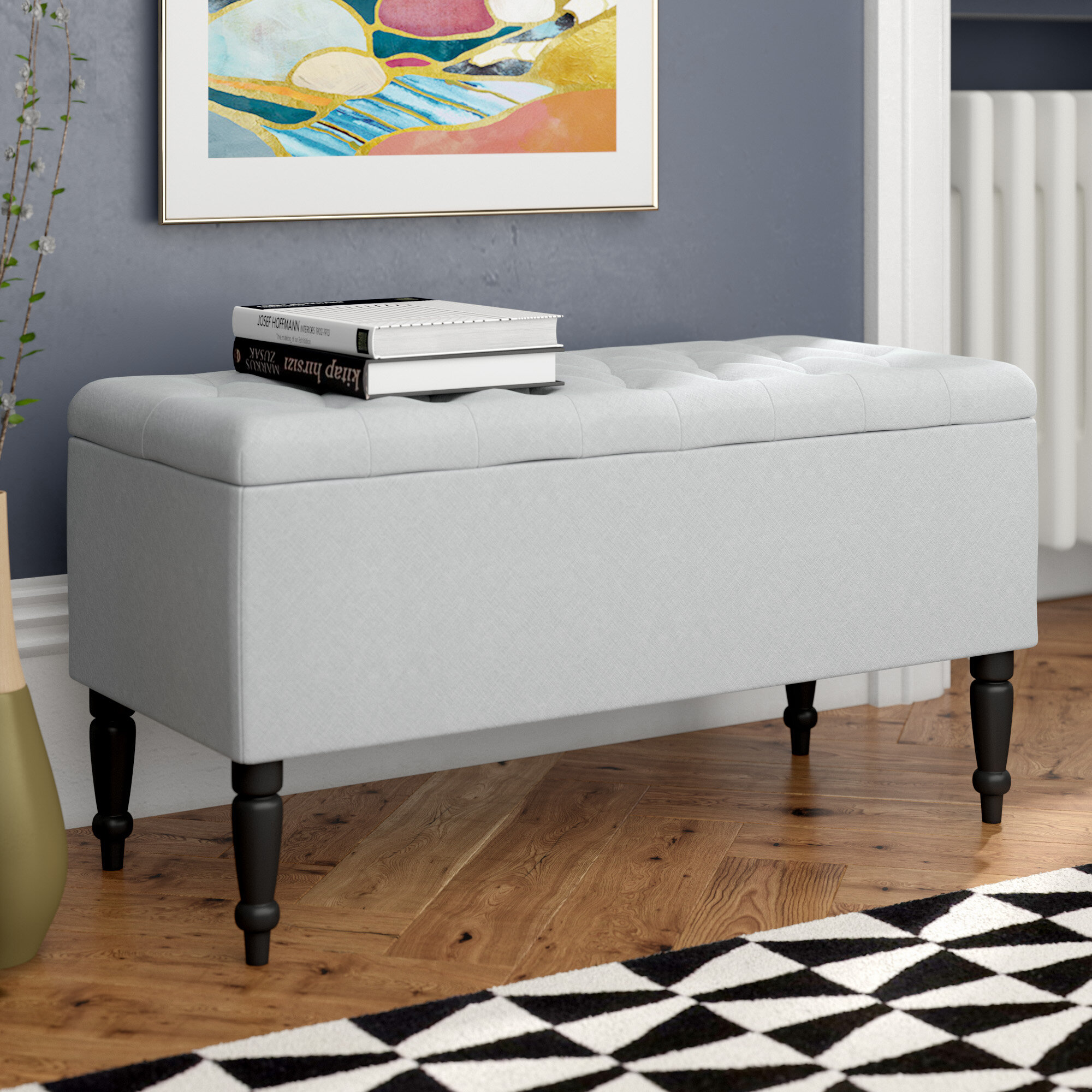 Home & Haus Gepolsterte Schlafzimmerbank Jenny mit Stauraum aus Holz ...
