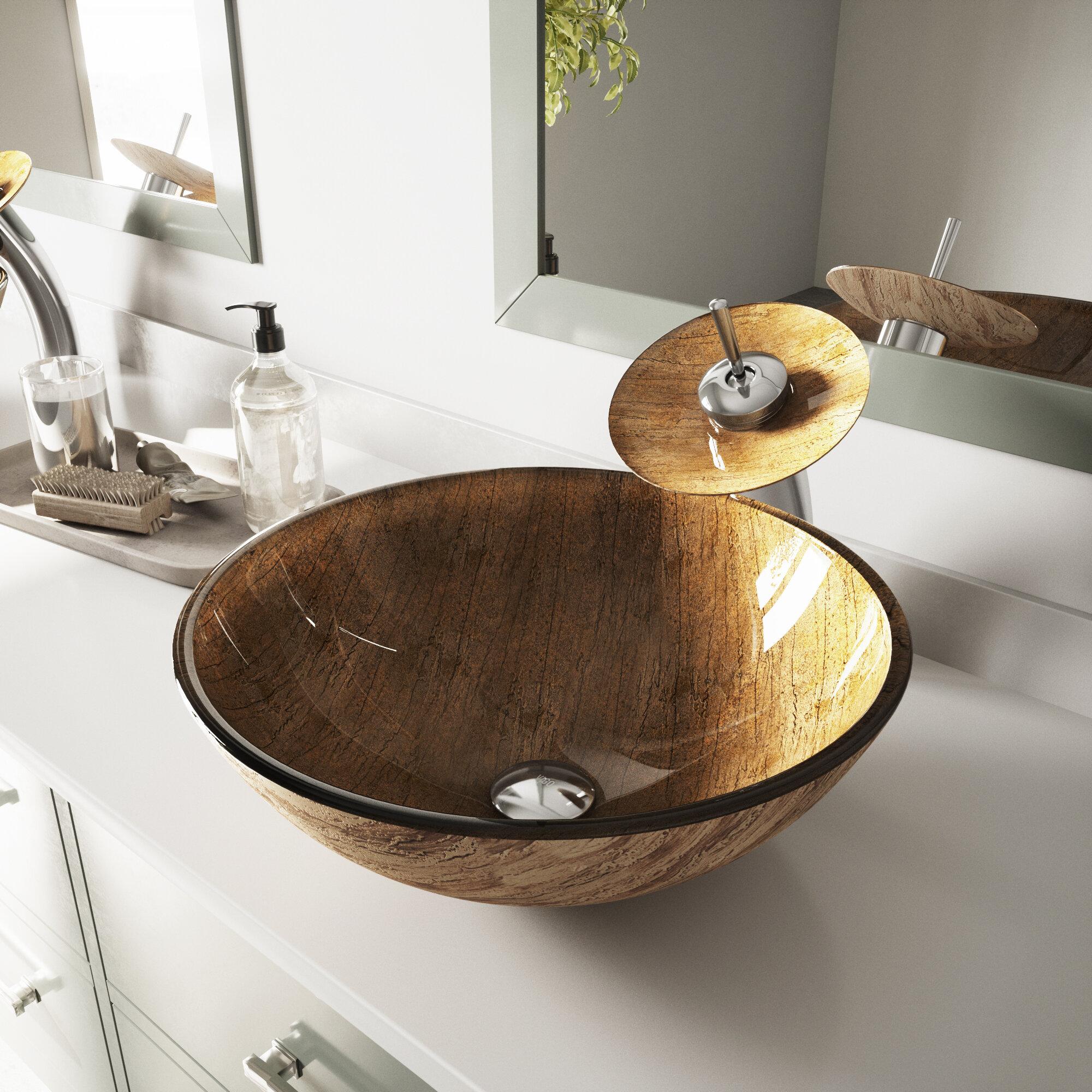 Vigo Brown Tempered Glass Handmade Circular Vessel Bathroom Sink Reviews Wayfair
