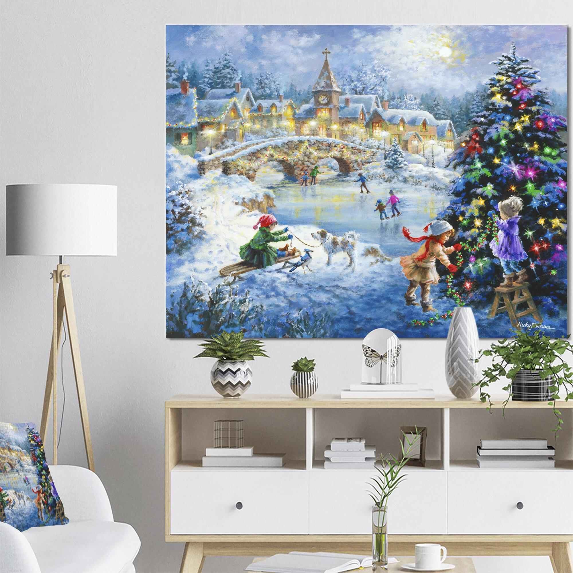 East Urban Home Christmas Tree Decorating Sledding Children Painting Wayfair