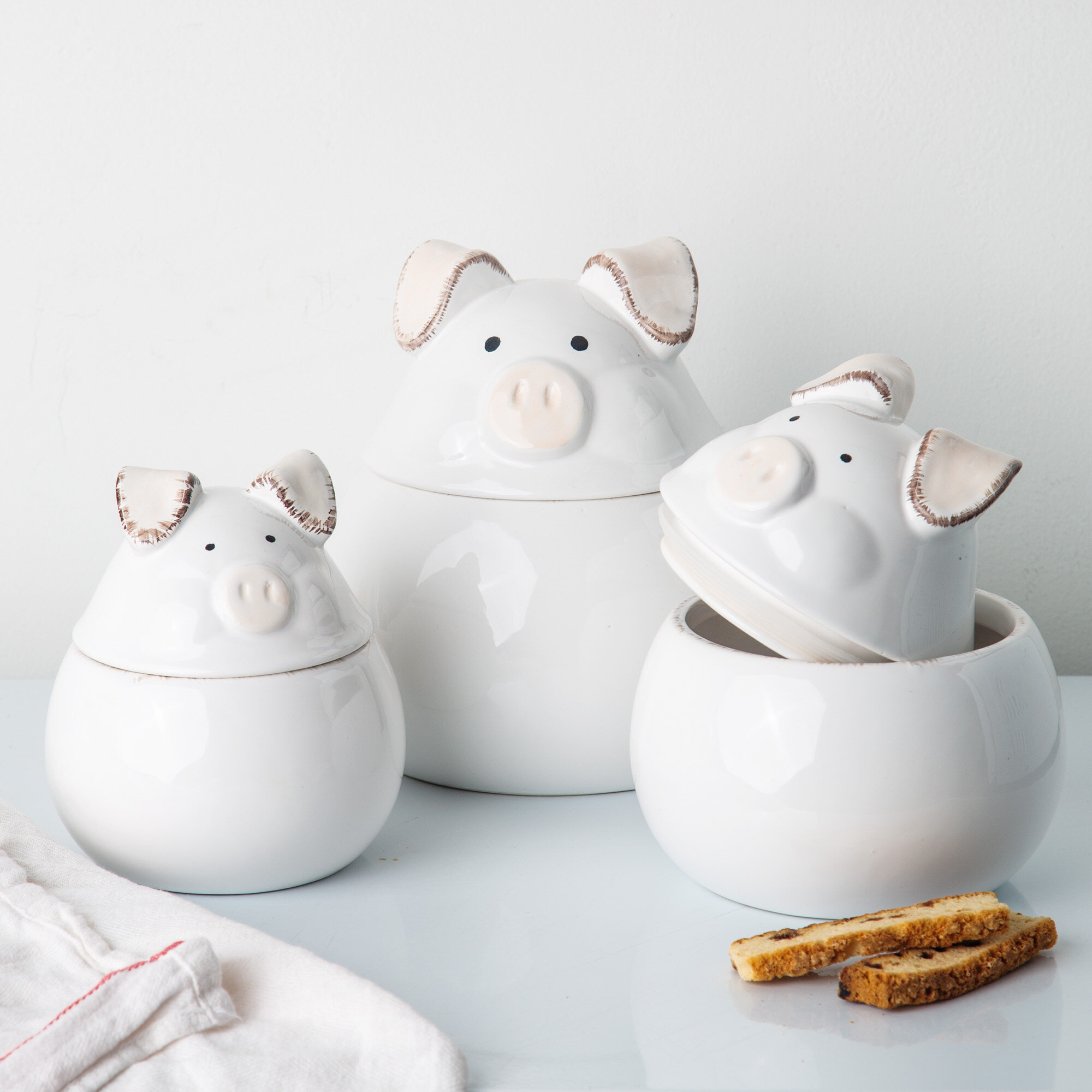 August Grove Floppy Eat Pig 3 Piece Kitchen Canister Set Reviews Wayfair