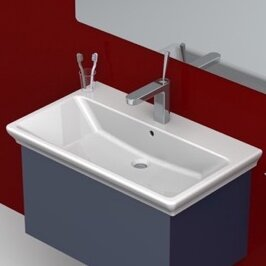 CeraStyle by Nameeks Arica Ceramic Rectangular Drop-In Bathroom Sink with Overflow
