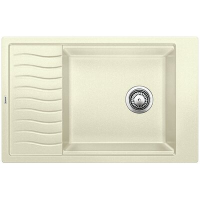Blanco Precis 30.69 L x 19.69 W Medium Single Kitchen Bowl Sink with Drainer Color: Biscuit