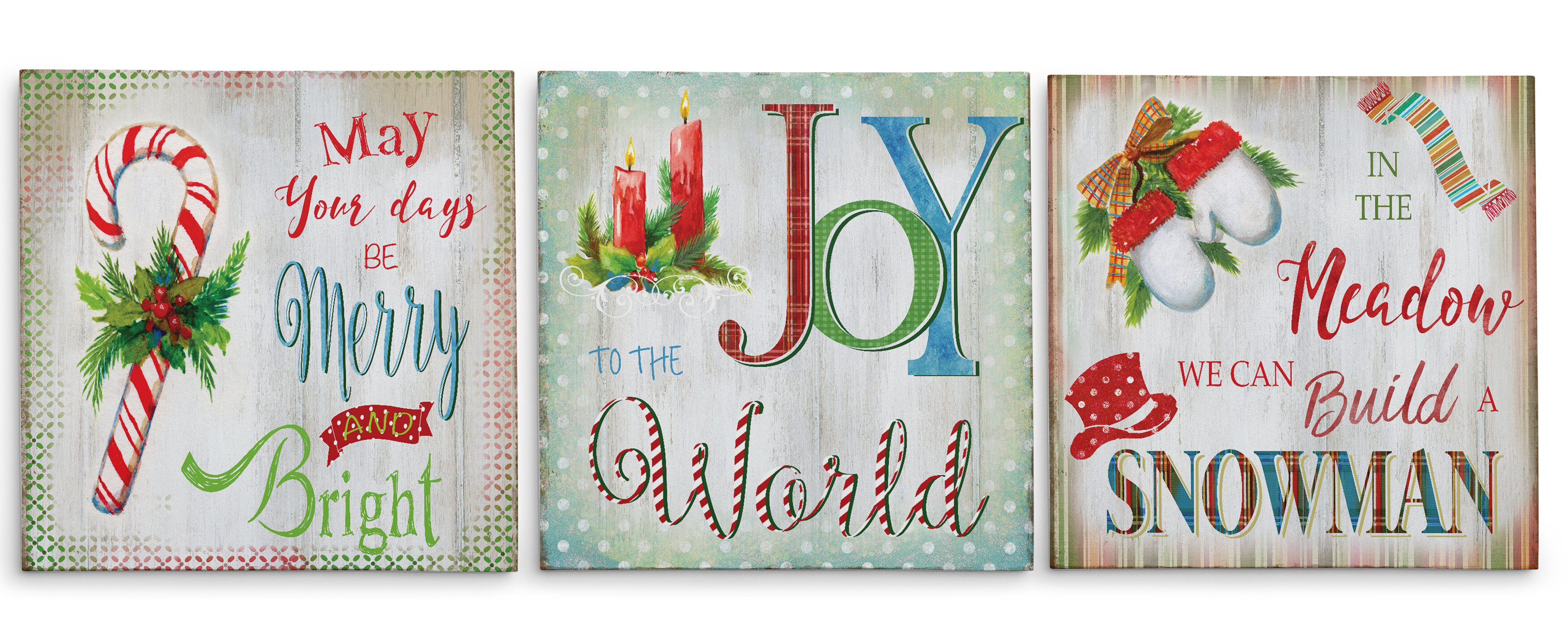 The Holiday Aisle Joy To The World 3 Piece Textual Art Set On Wrapped Canvas Reviews Wayfair