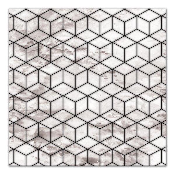 Williston Forge Marble Geometric Cube Framed Graphic Art Print On Canvas Wayfair