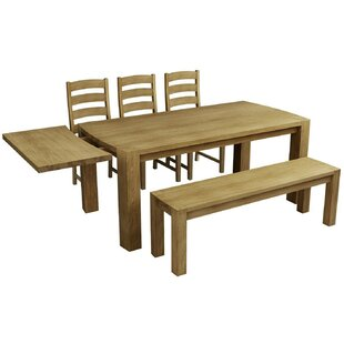 Aimee Extendable Dining Set With 3 Chairs And One Bench By Natur Pur