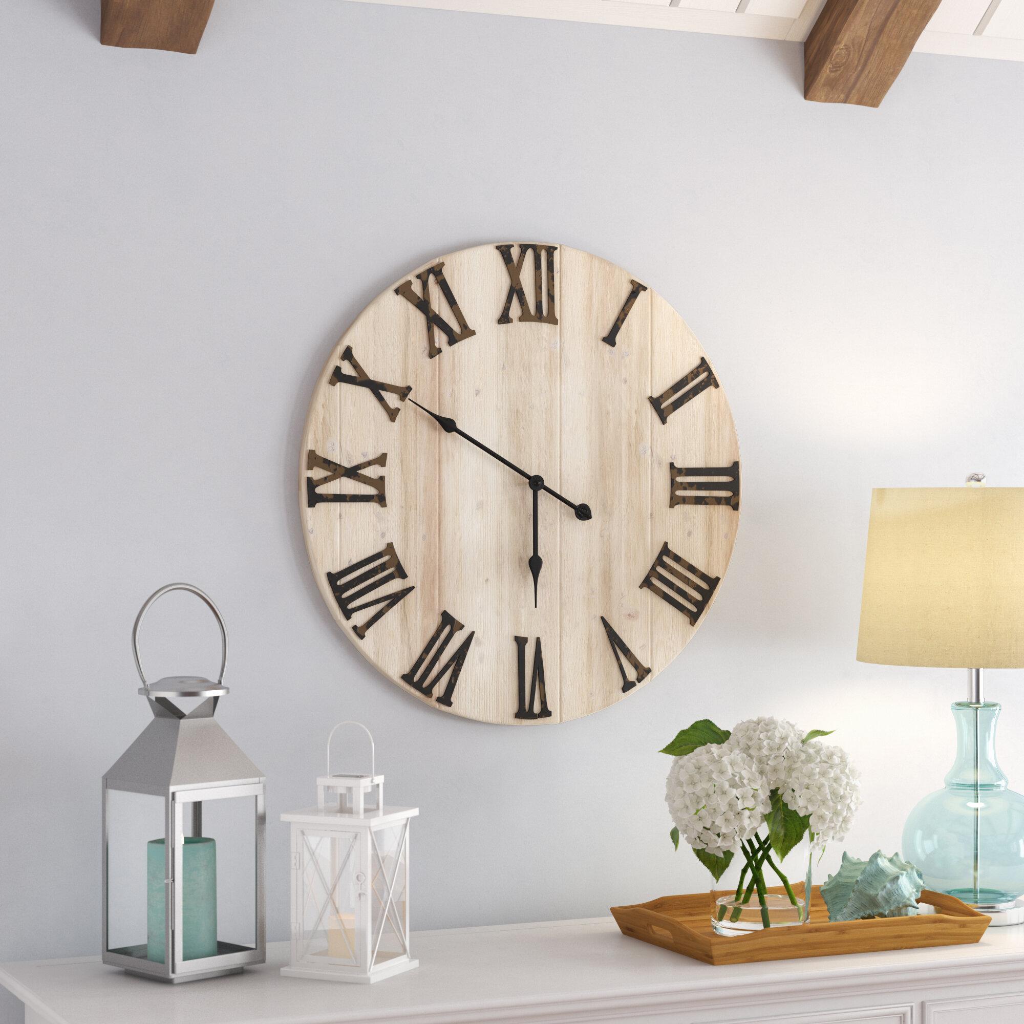 Oversized Villalobos Distressed Wood 28 Wall Clock