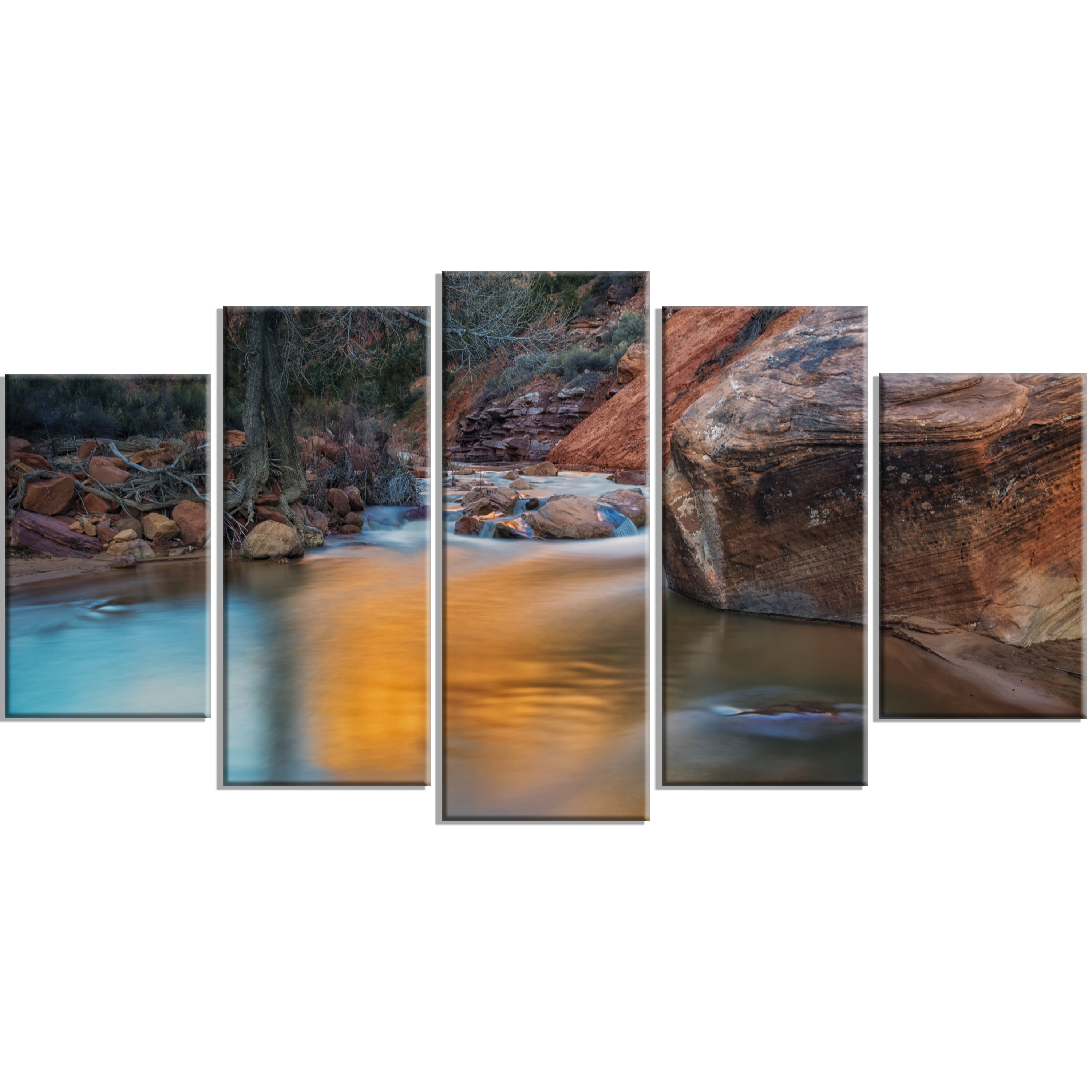 Designart Slow Motion Virgin River At Zion 5 Piece Wall Art On Wrapped Canvas Set Wayfair
