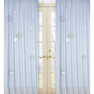 Go Fish Nautical Semi Sheer Rod Pocket Curtain Panels (Set Of 2)
