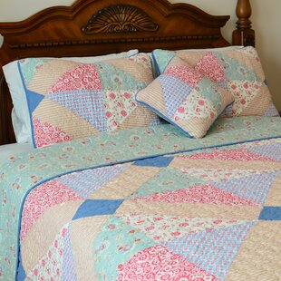 J&J Bedding Angie Patchwork Reversible Quilt-Decorative Pillow