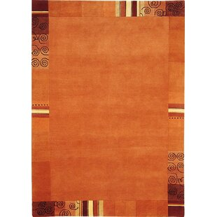 Everest Knotted Wool Orange Rug by Theko