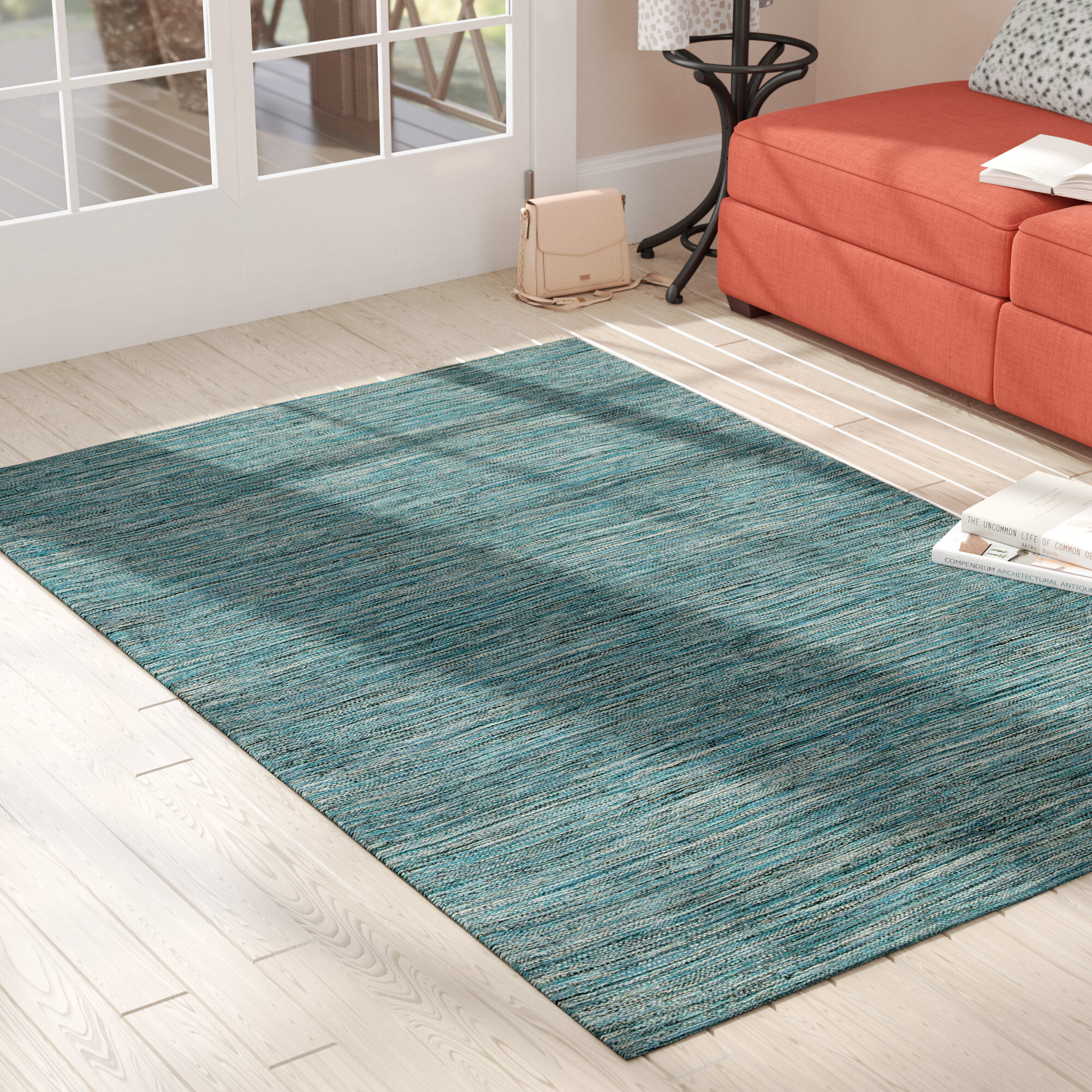 Wrought Studio Temme Hand Woven Cotton Blue Area Rug Reviews Wayfair