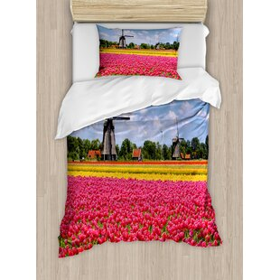 Windmill Tulips Fresh Springtime Field European Historic Traditional Duvet Set by Ambesonne
