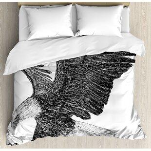 East Urban Home Animal Bald Eagle Swoop Hand Drawn Sketchy Figure Flying Hunter Wildness Artwork Duvet Set