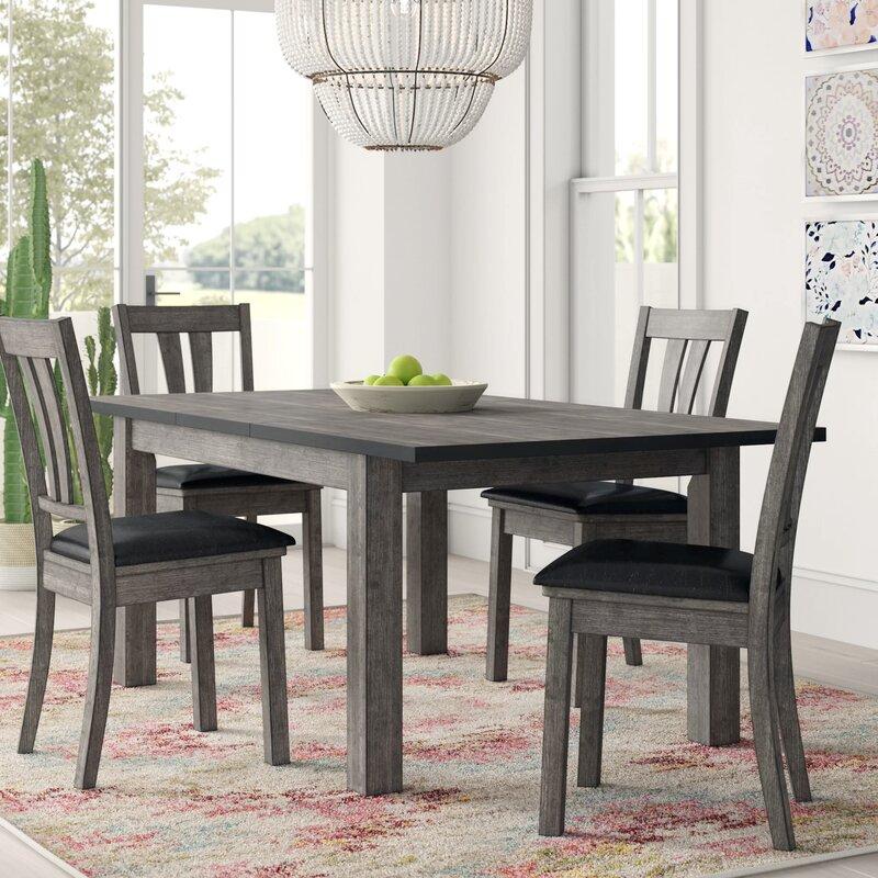 Mistana Katarina 5 Piece Extendable Solid Wood Dining Set Reviews Wayfair